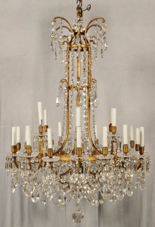 24 LIGHT FRENCH BRONZE BACCARAT CHANDELIER. CHANDELIER