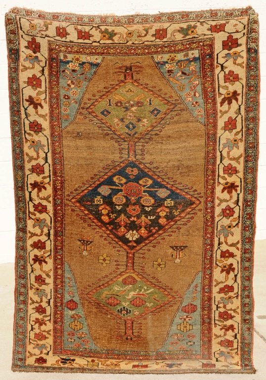 SEMI-ANTIQUE HEREZ THROW RUG. BROWN BACKGROUND WITH BLU