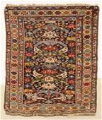 SEMI-ANTIQUE CAUCASIAN THROW RUG. MULTI COLOR GEOMETRIC