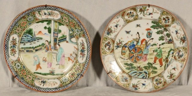 2 CANTON PORCELAIN  PLATES.  BOTH HAVE FIGURAL AND