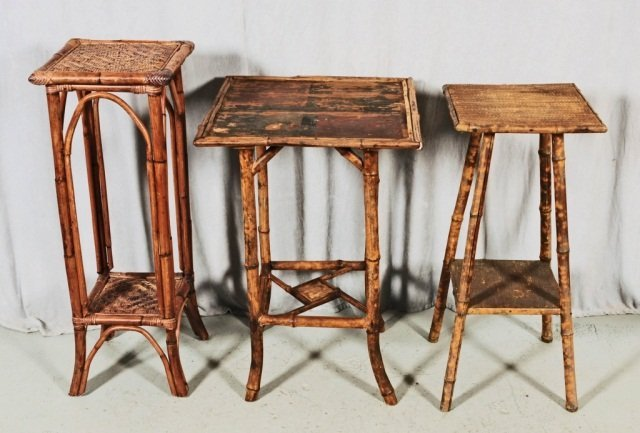 3 ANTIQUE FRENCH BAMBOO STANDS.  SQUARE  SHAPED TOPS.