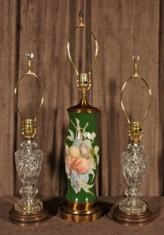 LOT OF 3 LAMPS.  CONSISTING OF A  TALL GREEN REVERESE