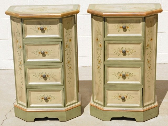 PR OF  SHAPED  AND  PAINTED 4 DRAWER  NIGHT STANDS.