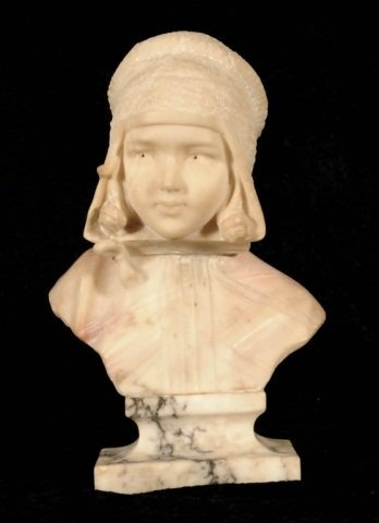 """SMALL  ALABASTER  BUST OF A  CHILD. GOOD. 10 1/2"""" H X 6"""