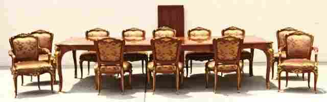 13 PIECE LOUIS XV STYLE DINING SET.  COPY OF A  F.