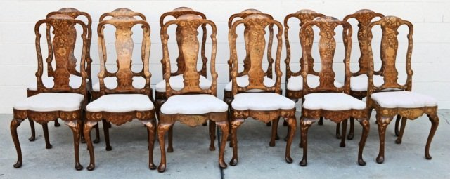 12 19th C. DUTCH MARQUETRY SIDE CHAIRS.  FLORAL INLAID