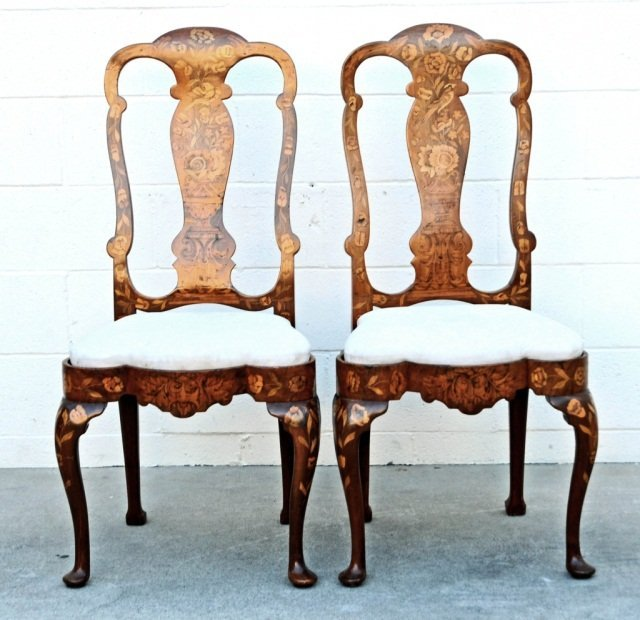 12 19th C. DUTCH MARQUETRY SIDE CHAIRS.  FLORAL INLAID - 2