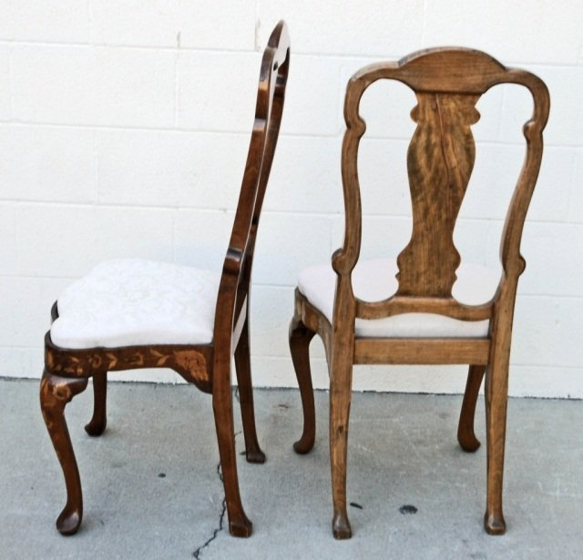 12 19th C. DUTCH MARQUETRY SIDE CHAIRS.  FLORAL INLAID - 3