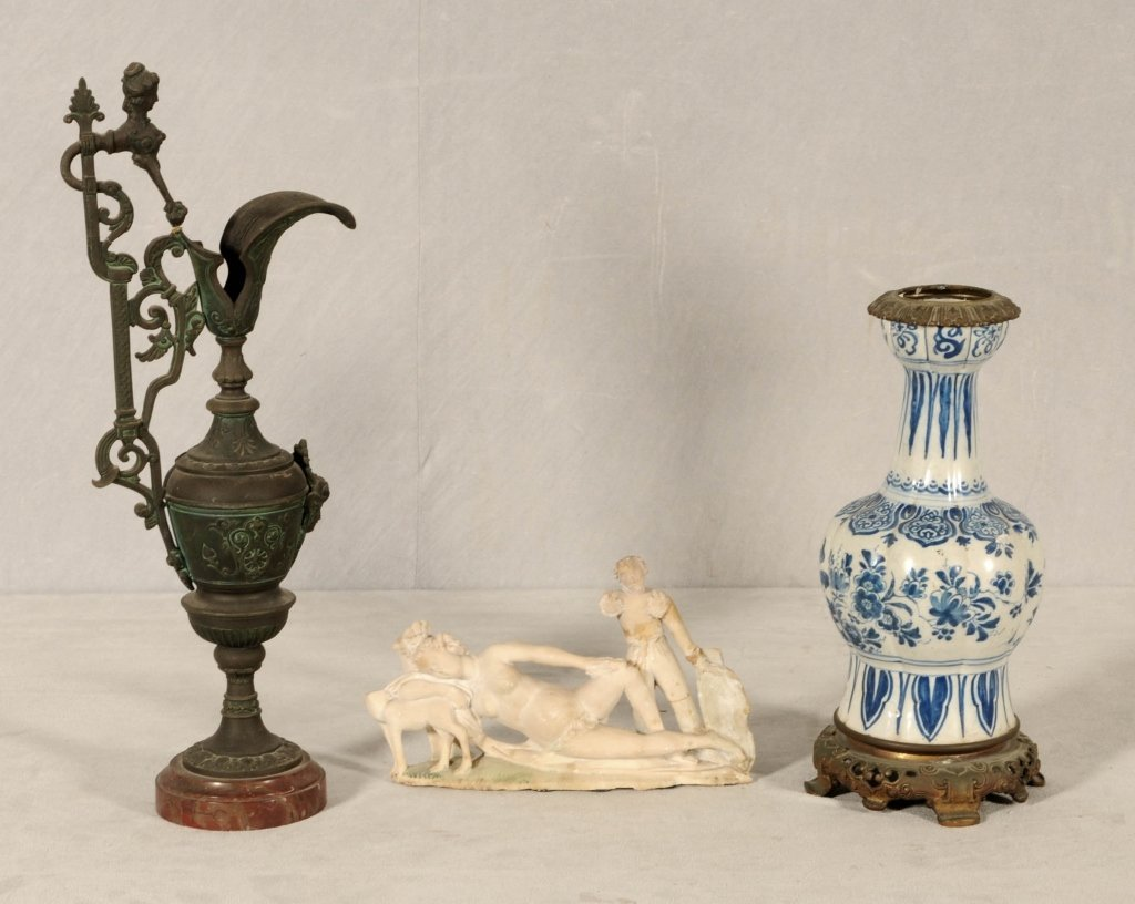 3 MISC. PCS. CONSISTING OF  A CARVED ALABASTER FIGURAL
