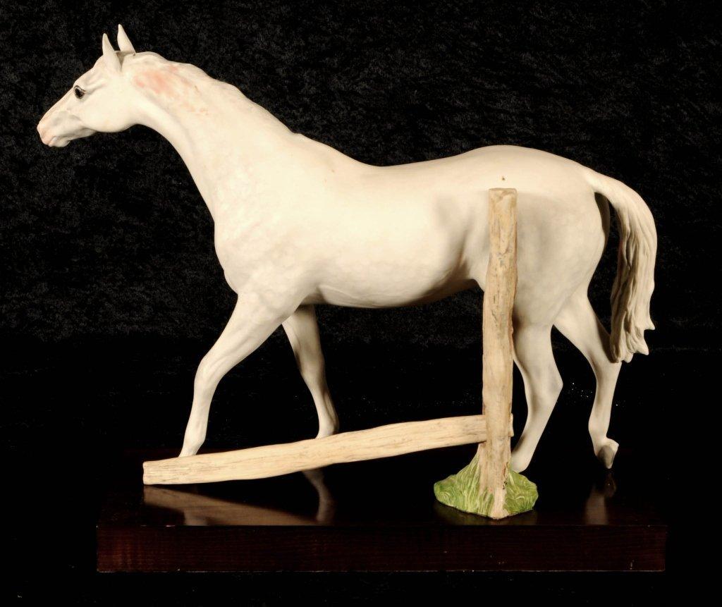 CYBIS PORCELAIN FIGURE OF A HORSE.  WOOD BASE. GOOD. 12
