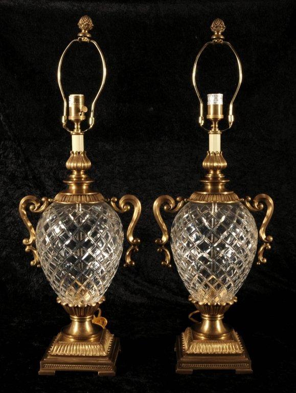 PR. CRYSTAL URN SHAPED TABLE  LAMPS.  GILT ORMOLU