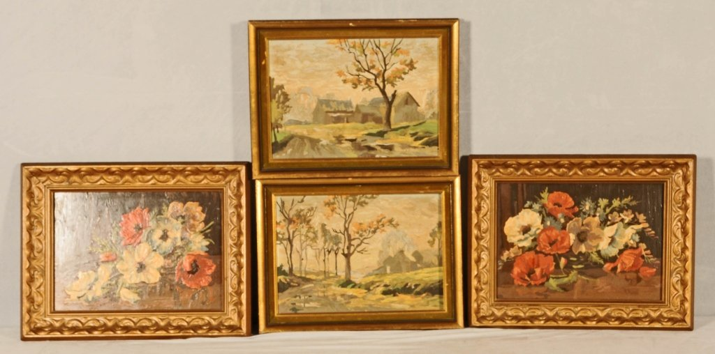 2 PAIR OF OIL PAINTINGS.  ONE PAIR DEPICTS  FLORAL