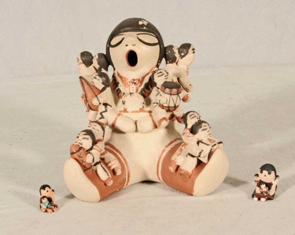 3 PCS.  AMERICAN PUELO POTTERY.  CONSISTING OF A FIGURE