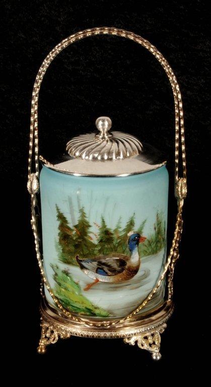 ANTIQUE VICTORIAN ART GLASS BISCUIT BARREL. ENAMEL DUCK