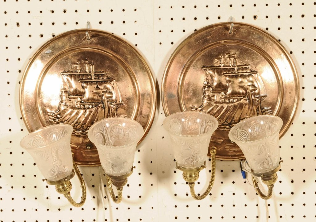 2 ROUND COPPER 2 LIGHT WALL SCONCES. SHIP IN RELIEF