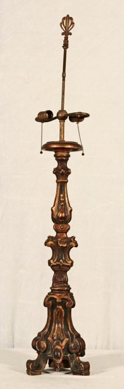 ITALIAN GILT WOOD CARVED ALTAR STICK  CONVERTED TO A