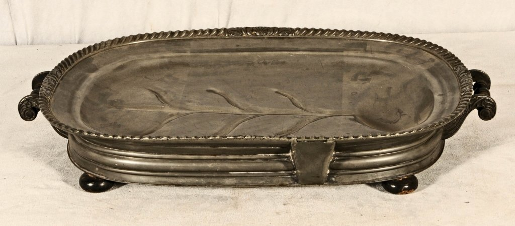 ANTIQUE PEWTER WELL & TREE WARMER.   HINGED FILLER IN