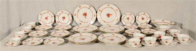 62 PIECE SET HEREND PORCELAIN DINNER WARE. ORANGE