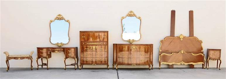 8 PC.  LOUIS XV STYLE SATIN MAHOGANY BEDROOM SET.
