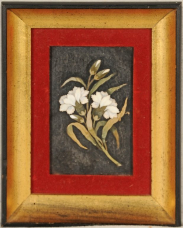 PIETRA  DURA PLAQUE.  FLORAL INLAY ON  A  BLACK SLATE