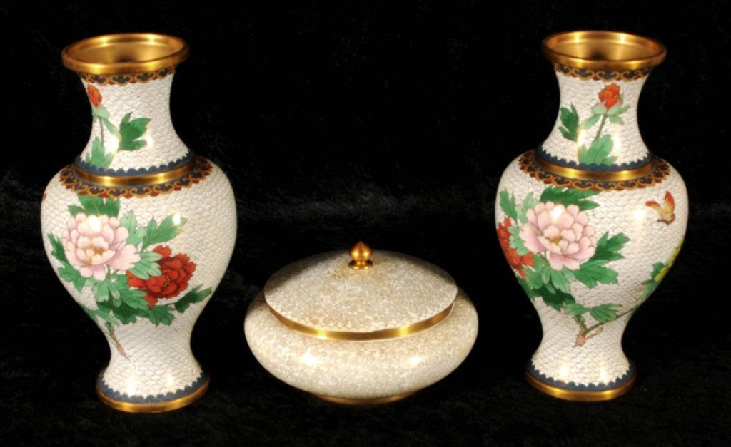 3  CLOISONNE PCS.  CONSISTING OF 2 VASES WITH MULTI