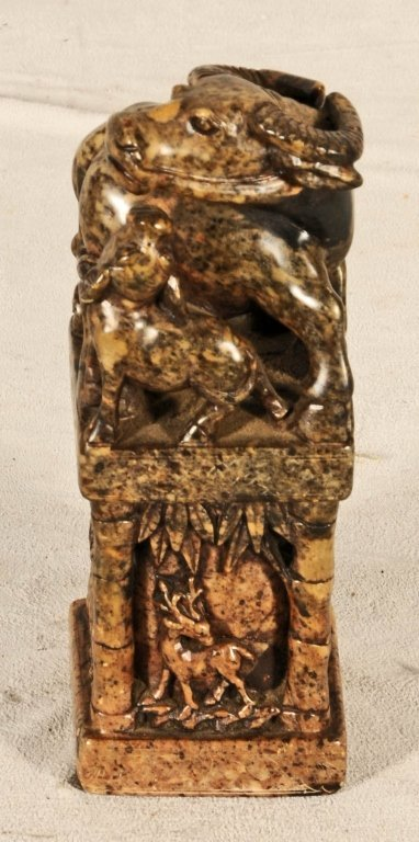 CHINESE CARVED SOAPSTONE CHOP OF  A  WATER BUFFALO AND