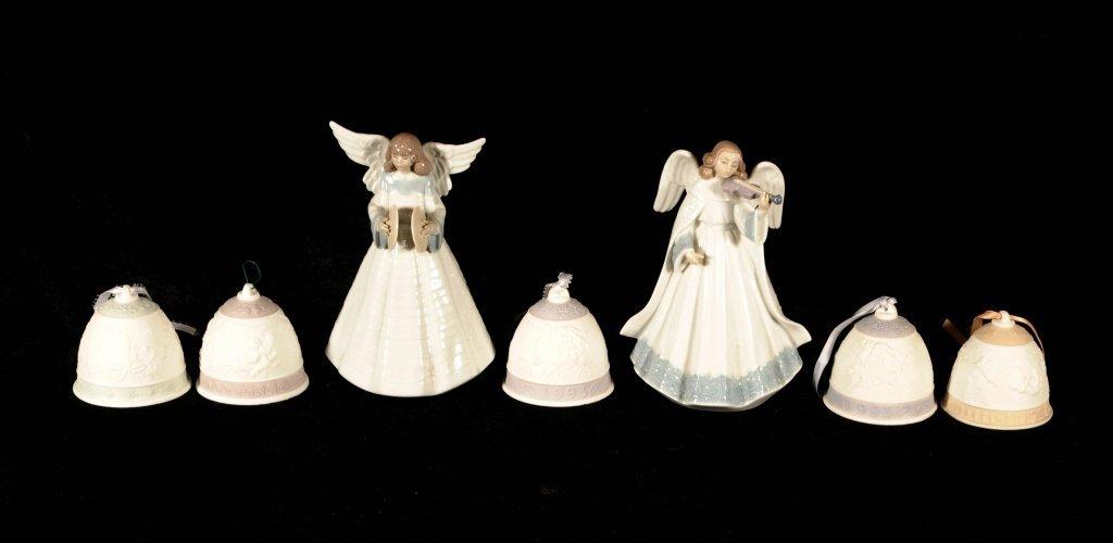 7 LLADRO  PCS.  CONSISTING OF 5 BELLS &  2 ANGELS.