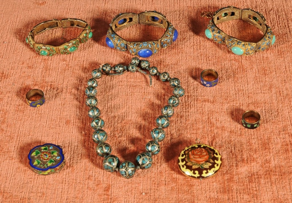 9 PC.  JEWELRY.  CONSISTING OF  3 SILVER & ENAMEL
