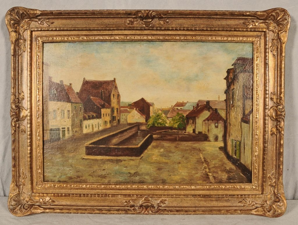 OIL PAINTING ON BOARD.  DEPICTING  A  VILLAGE STREET