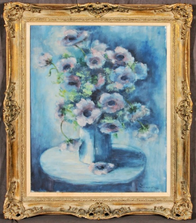 OIL PAINTING ON CANVAS.  FLORAL STILL LIFE DEPICTING