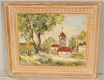 GERMAN LANDSCAPE OIL PAINTING ON BOARD.  DEPICTING