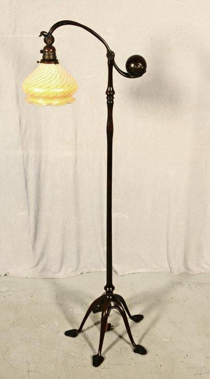 TIFFANY STUDIOS  BRONZE COUNTER BALANCE FLOOR LAMP.