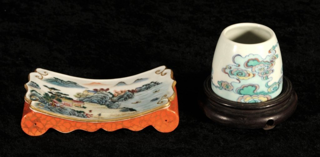 2 CHINESE PORCELAIN PCS.  CONSISTING OF A MINIATURE