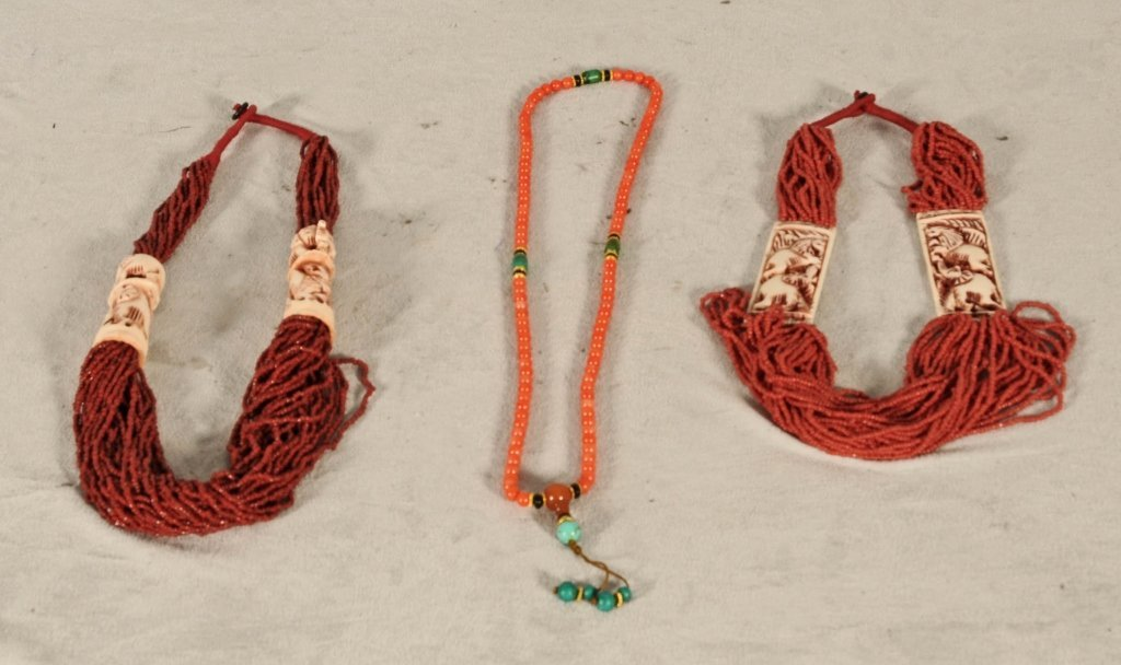 3 CHINESE BEADED NECKLACES.  2 HAVE CARVED IVORY