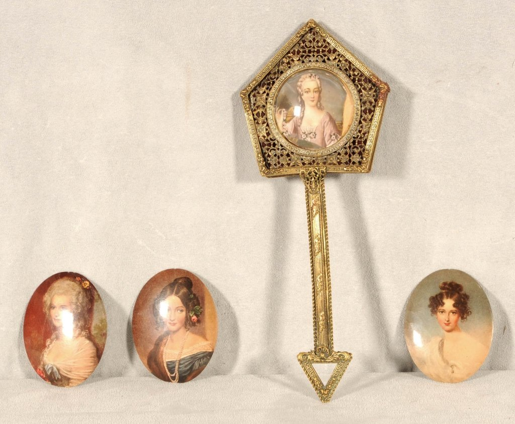 4 PC.  CONSISTING OF A BRASS HAND MIRROR  & 3 OVAL