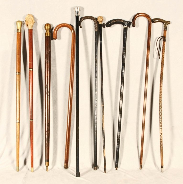 10 WALKING STICKS  AND  CANES. FAIR.