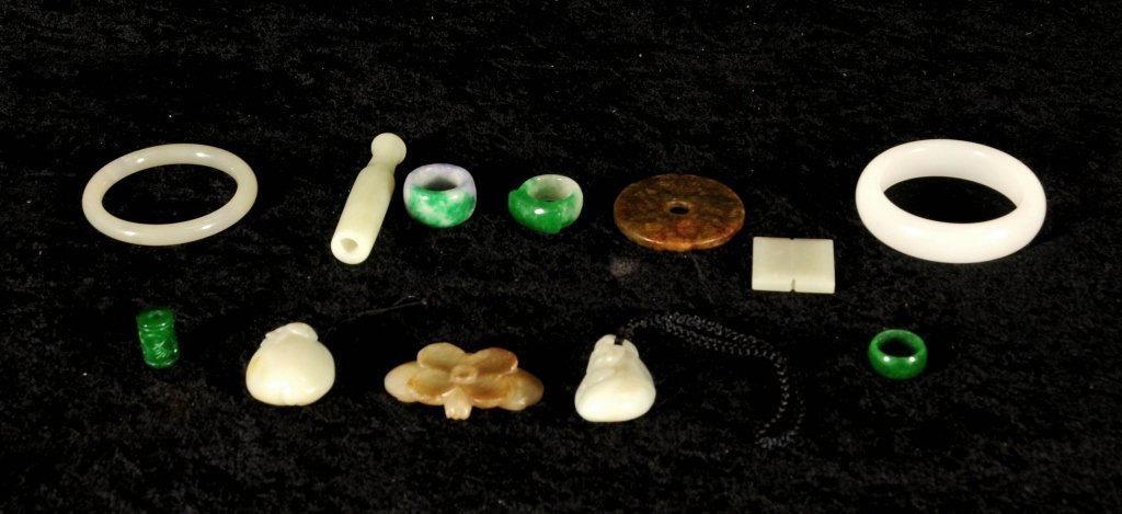 12 PC. CHINESE CARVED  JADE PCS.  CONSISTING OF 2