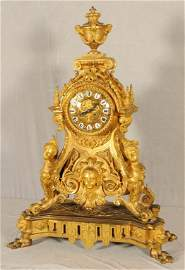 19th C. FRENCH DORE BRONZE BRACKET STYLE  CLOCK. URN