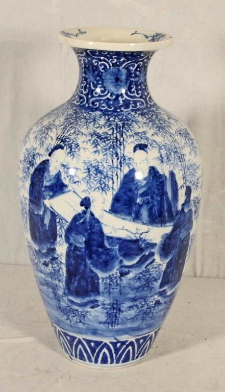 ANTIQUE CHINESE BLUE & WHITE VASE.  FLAIRED NECK, - 2