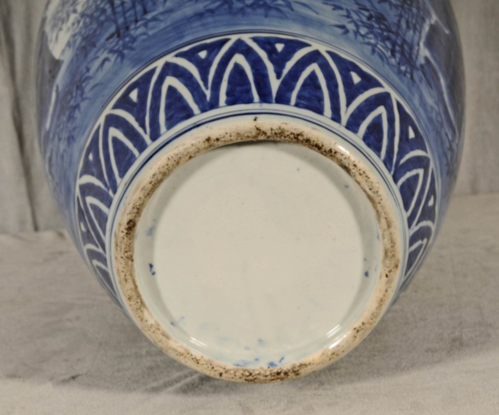 ANTIQUE CHINESE BLUE & WHITE VASE.  FLAIRED NECK, - 5