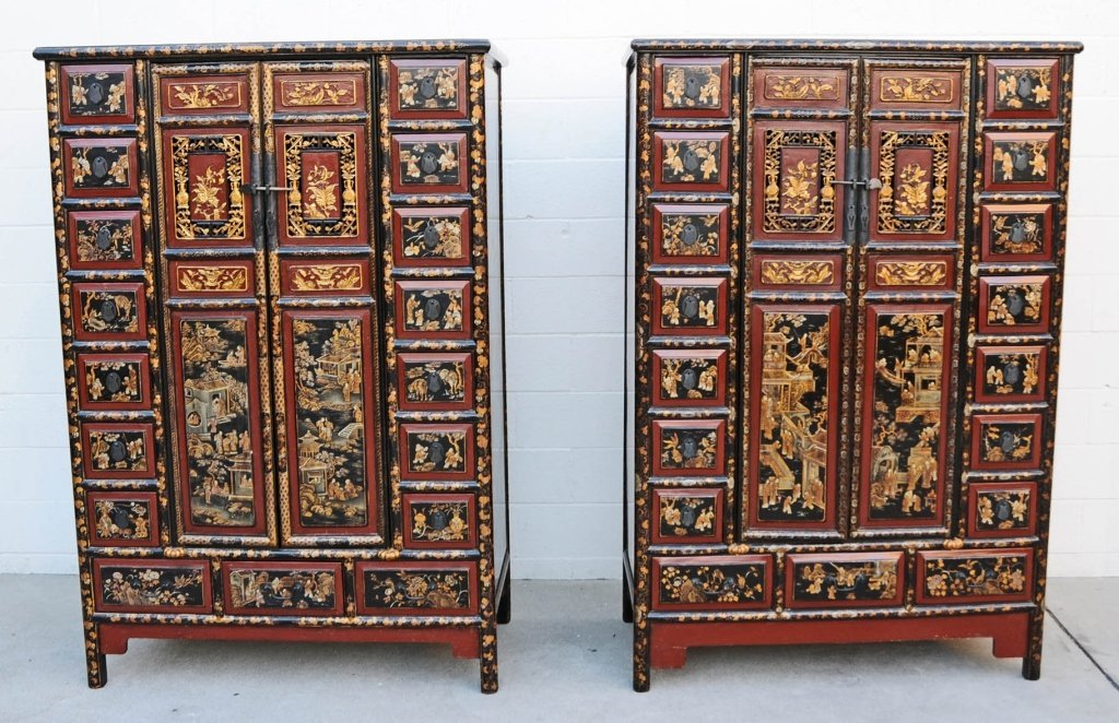 PR. ANTIQUE CHINESE LACQUER & NING PO CABINETS. CENTER