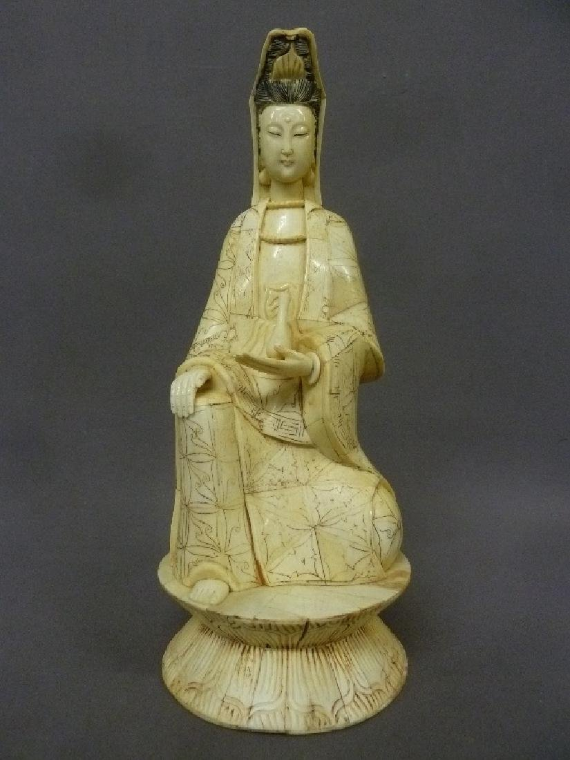 Carved Bone Figure of Guan Yin, signed on the base,