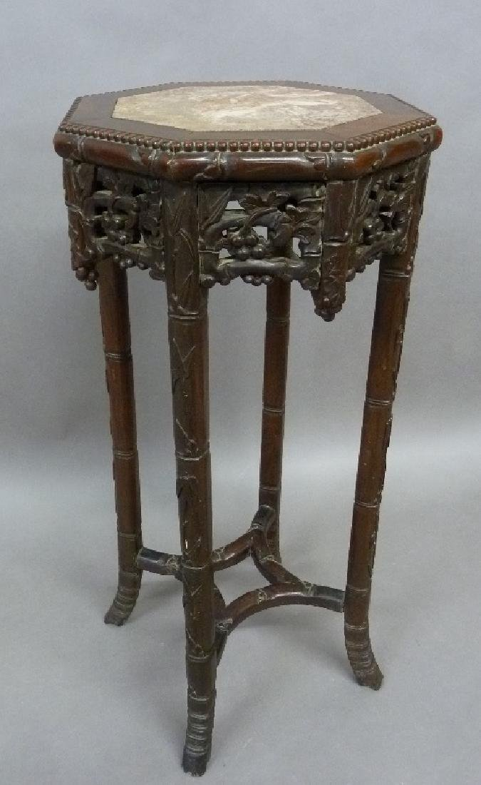 Circa 1900 Hand Carved Rosewood Chinese Marble Top
