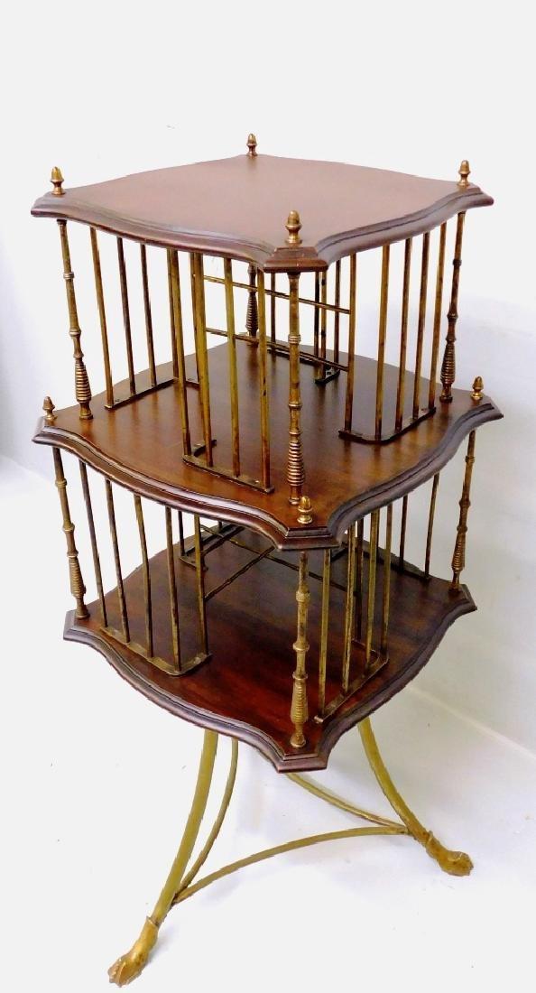 Circa 1900 Unique Mahogany & Brass Rotary Bookcase -