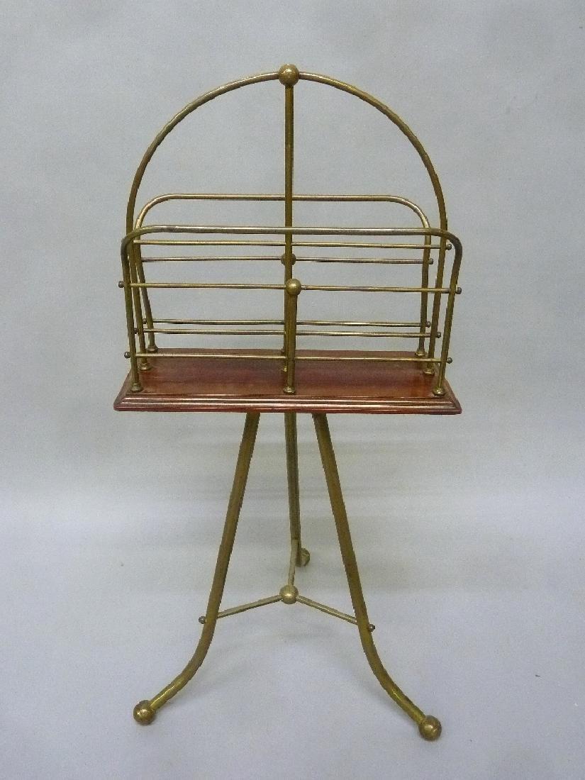 Circa 1910 Unique Brass & Mahogany Rotating Bookcase