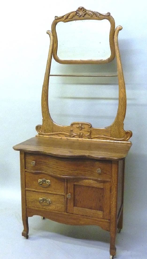 Circa 1900 Oak Washstand with Towel Bar & Tilting Bevel