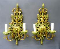 Pair of Carved Wooden Partial Gilt & Painted Signed