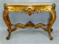 Early 20th Century Marble Top Louis XV Gilded French