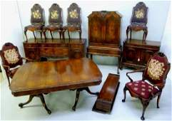 High Quality 1920s 10 pc Walnut  Dining set Signed