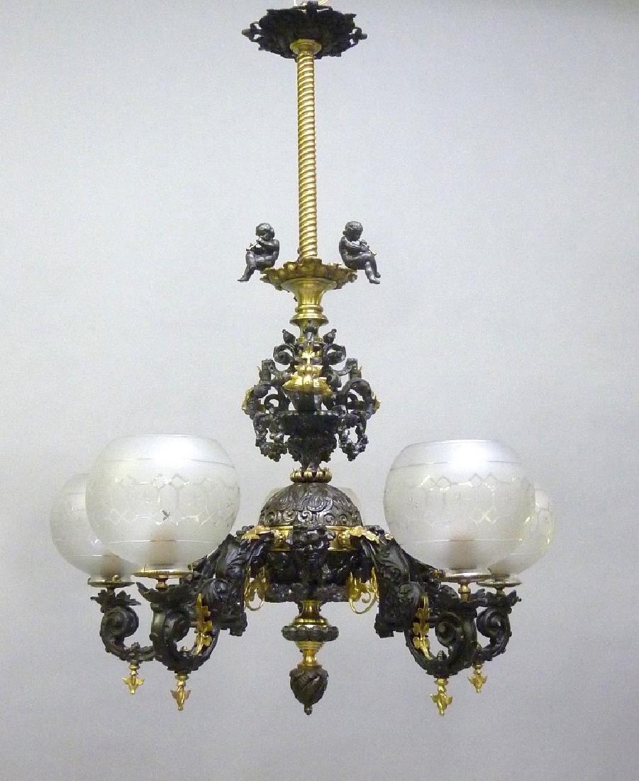 Circa 1860's Rare Rococo Brass & Spelter 5 Arm Gas